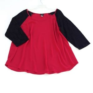 Torrid Blouse Holiday Red with Black Lace Raglan